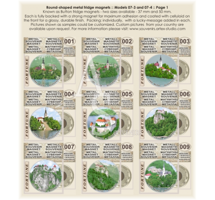 Slovenia, lake Blade :: Fridge Button Magnets 50mm